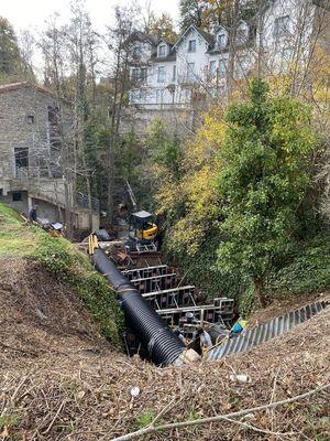 Réalisation du pré barrage Saint-Nectaire au Mont Dore